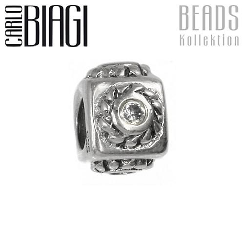 Carlo Biagi Zirkonia Bead Würfel European Beads BBSCZ07C