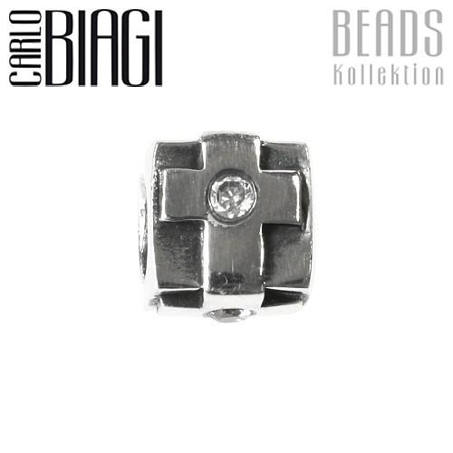 Carlo Biagi Zirkonia Bead Quadrat European Beads BBSCZ19C