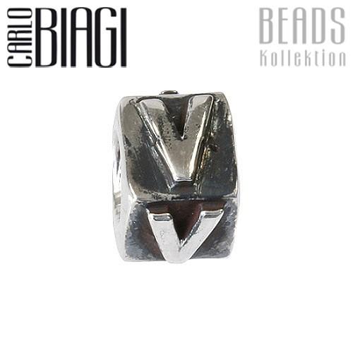 Carlo Biagi Bead Buchstabe V Silber European Beads BLPV