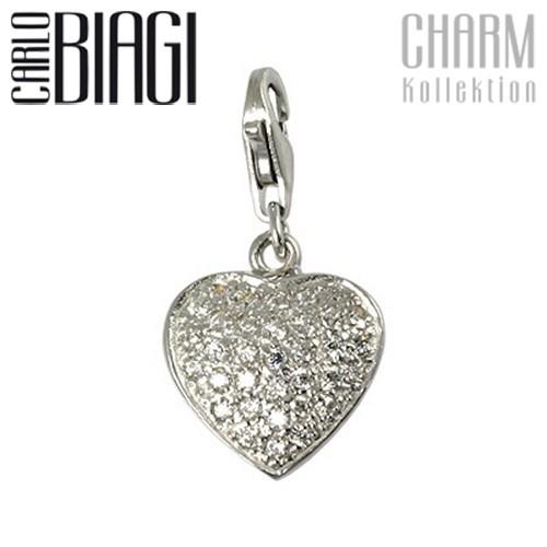 Carlo Biagi Charm Anhänger Herz weiß 925 Silber CSCZS02C