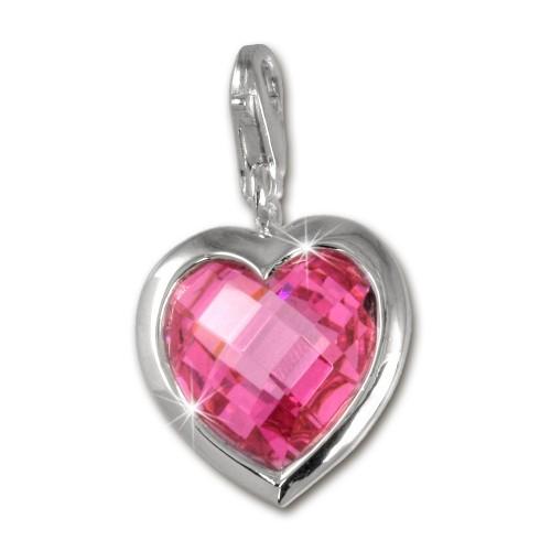 SilberDream 925 Charm Herz pink Armband Anhänger FC210P