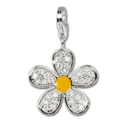 SilberDream 925 Charm Blume weiß Armband Ketten Anhänger FC4119