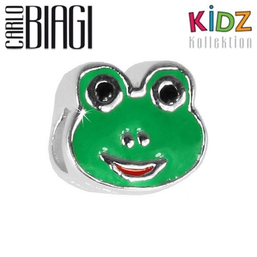 Carlo Biagi Kidz Bead Frosch grün Silber Beads KBE131