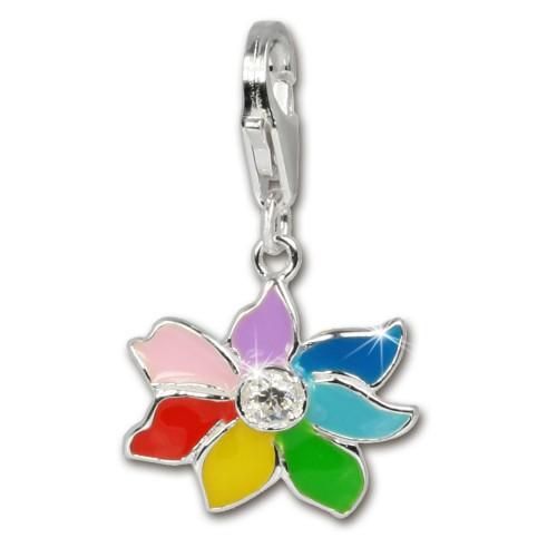 SilberDream Charm Blume bunt Armband Anhänger 925 Silber FC252W