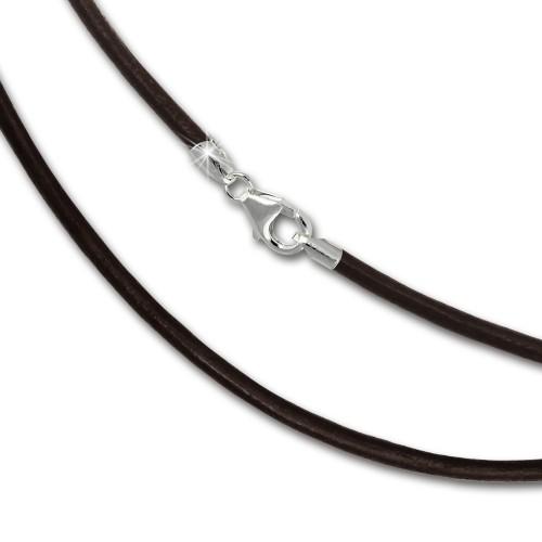 SilberDream Leder Kette 50cm braun 2mm für Charms SML7850