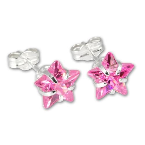 SilberDream Ohrringe Stern Zirkonia rosa 925 Silber SDO513P