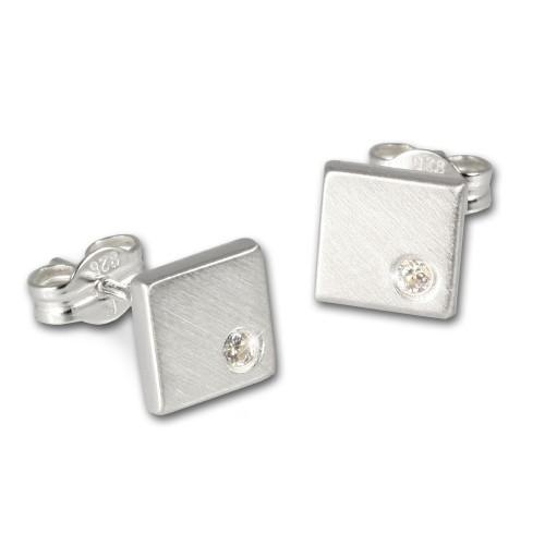 SilberDream Ohrringe Viereck weiß 925 Silber Ohrstecker SDO507W