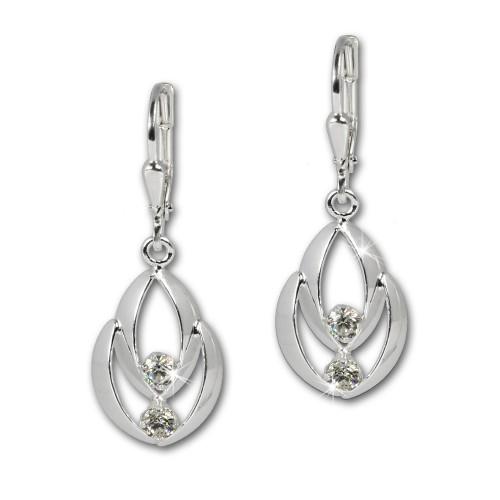 SilberDream Ohrhänger Glamour Zirkonia weiß Ohrring 925 Silber SDO522W