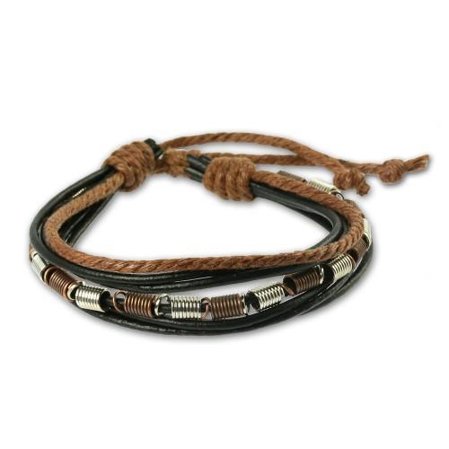 SilberDream Lederarmband schwarz Surfarmband Leder Armband LA1237S