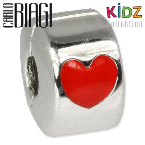 Carlo Biagi Kidz Bead Clip Herz rot Silber Beads KBC03
