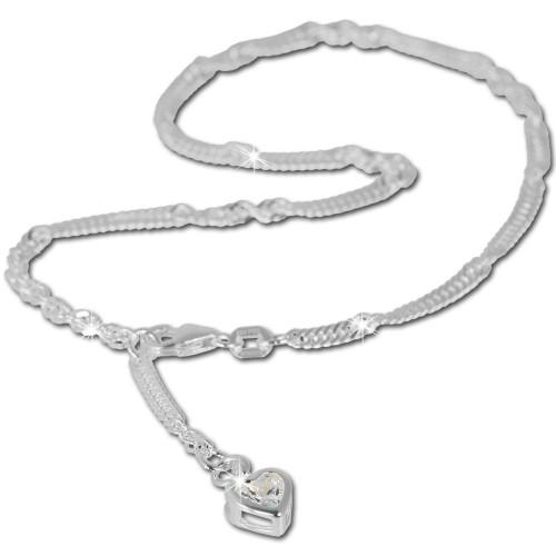 SilberDream 25,5cm Fußkette Herz Zirkonia Silber SDF005