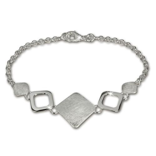 SilberDream Armband Karo mattglänzend 925 Sterling Silber 19cm SDA409