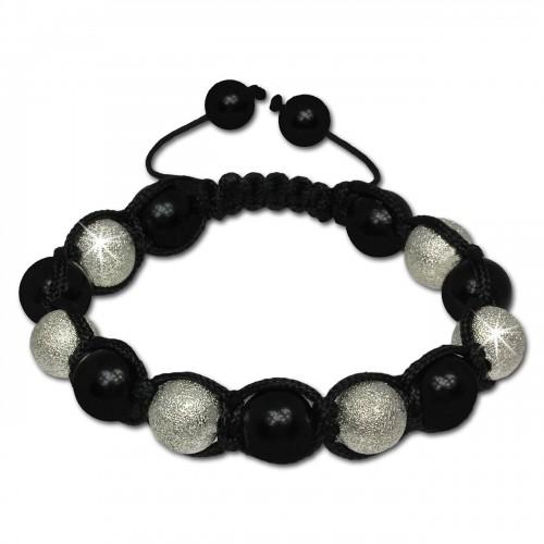 SilberDream Shamballa Armband Stein schwarz silber SDA913