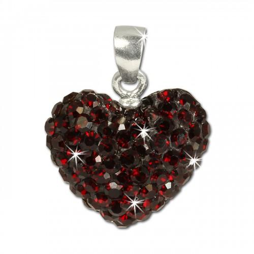 SilberDream Glitzer Anhänger Herz Zirkonia Kristalle rot 925 GSH205D