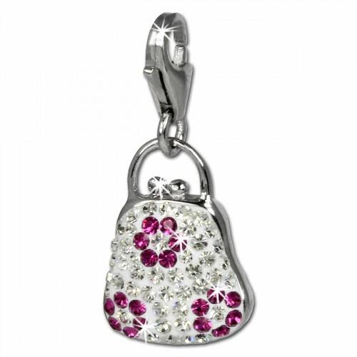 SilberDream Glitzer Charm Tasche weiß Zirkonia Kristalle 925 GSC532W