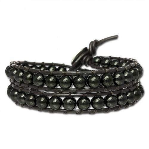 SilberDream Hämatit dunkel Lederarmband Shamballa Leder Armband LAN013