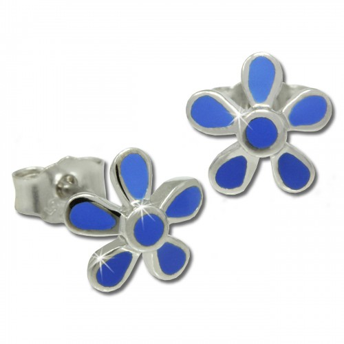 Kinder Ohrring Blume blau Silber Ohrstecker Kinderschmuck TW SDO209B