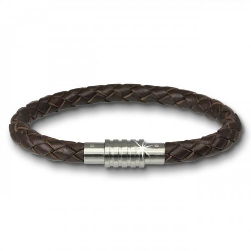 Amello Megabeads Leder Armband brau mit Edelstahl Verschluß AMA474N22