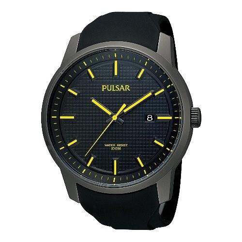 Pulsar Uhr fr Herren schwarz-gelb Sport Uhren Kollektion UPS9077