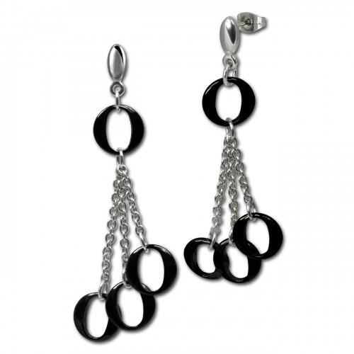 Amello Ohrringe Keramik Ringe schwarz Damen Edelstahlschmuck ESOX02S
