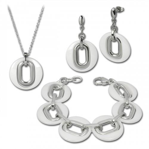 Amello Edelstahlschmuckset Keramik Kette, Armband, Ohrring ESSX03W