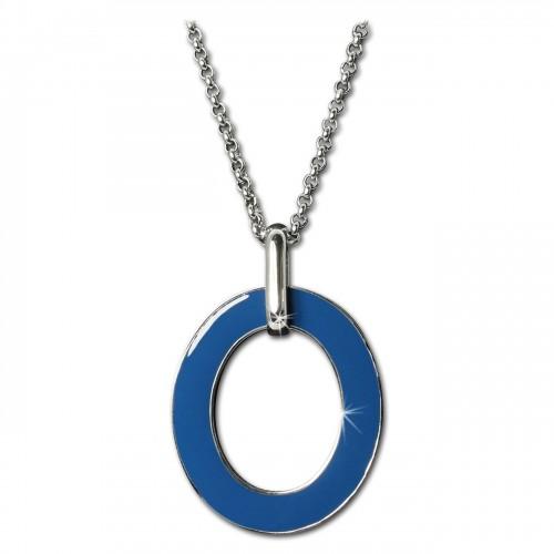 Amello Halskette Oval Emaille blauweiß Damen Edelstahlschmuck ESKG01B