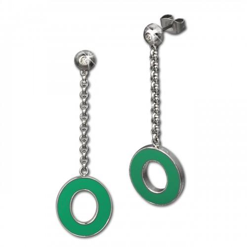 Amello Ohrstecker Oval Zirkonia Emaille grün Ohrringe Damen Stahl ESOG03G