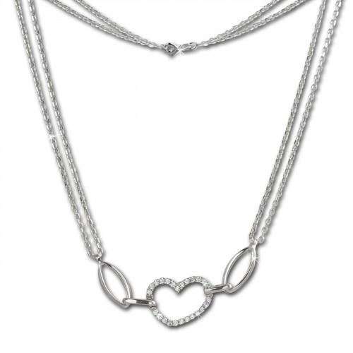 SilberDream Kette Herz Zirkonia wei 925er Silber 45cm Halskette SDK423W