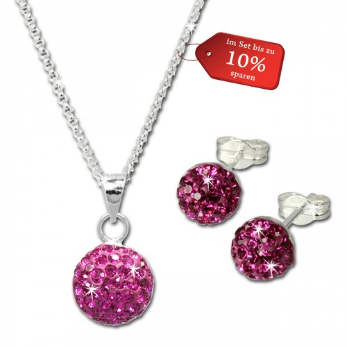 SilberDream Glitzer Set Pink Kette Anhnger Ohrringe 925 Silber GSS053P