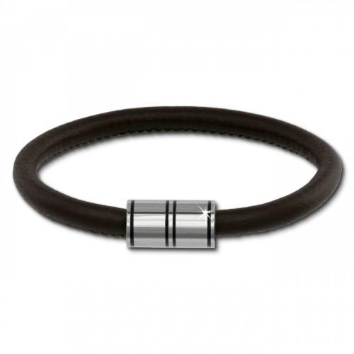 SilberDream Nappa Leder Armband braun 22cm Edelstahlverschluss LAB1122