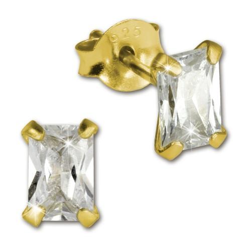SilberDream Ohrstecker vergoldet Rechteck wei 925er Ohrring SDO9116YW