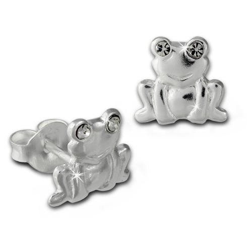 Kinder Ohrring Frosch wei Silber Ohrstecker Kinderschmuck TW SDO8022W