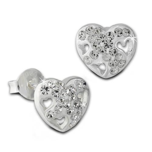 SilberDream Ohrstecker Herz Zirkonia wei 925er Silber Ohrring SDO8026W