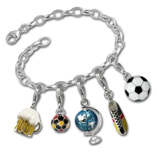 SilberDream Charm Fußball schwarz-weiß 925er Armband Anhänger FC880W