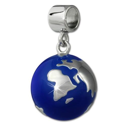 SilberDream Ketten Anhnger Weltkugel blau Emaille 925er Silber SDH601B