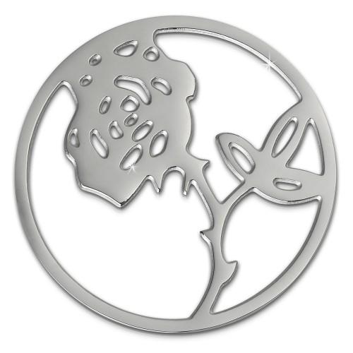 Amello Edelstahl Coin Rose silber für Coinsfassung Stahlschmuck ESC506J