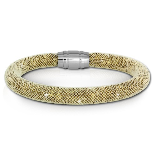 SilberDream Glitzerarmband Minikristalle goldfarben 18cm Armband Damen SDA050Y9