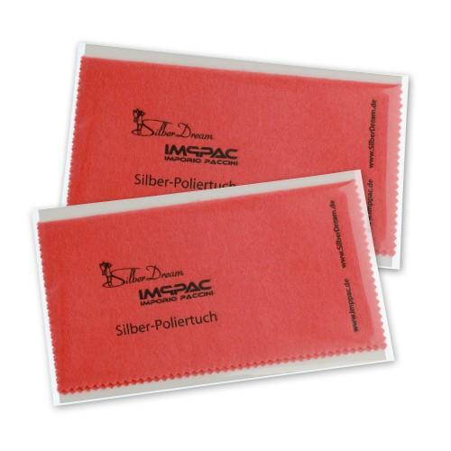 SilberDream Imppac 2Stck Schmuck Reinigungstcher rot Poliertuch ZAP137R2
