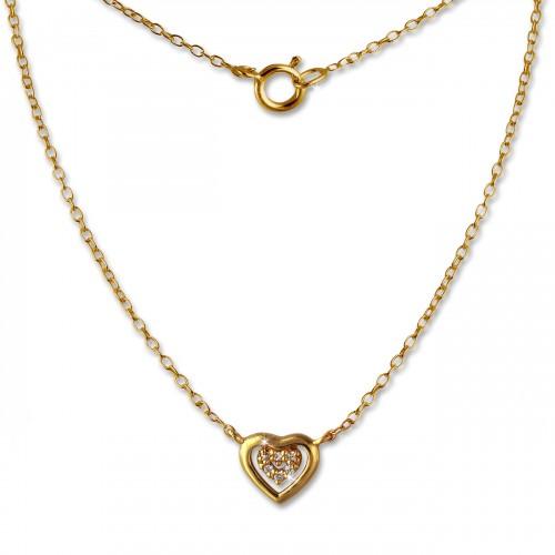 SilberDream Kette Herz vergoldet 925er Sterling Silber 45cm Halskette SDK8009Y