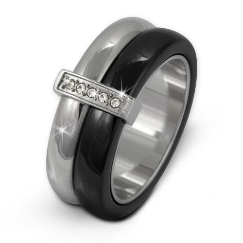 Amello Edelstahl Ring Keramik Zirkonia Gr.56 Edelstahlschmuck ESRX02S56