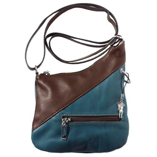 Umhängetasche Damen Handtasche Leder blau, braun DrachenLeder OTF100B
