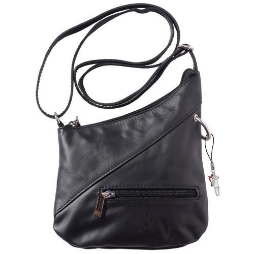 Umhängetasche Damen Handtasche Leder schwarz DrachenLeder OTF100S