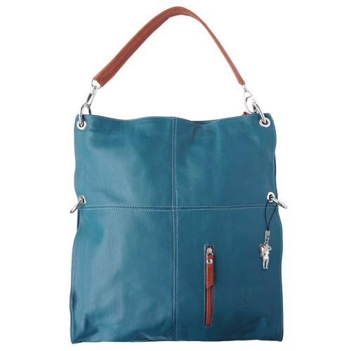 Hobo Bag Umhängetasche Leder blau Damen Schultertasche DrachenLeder OTF102B