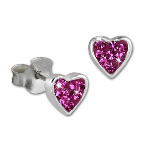 SilberDream Kinder Ohrringe Herzchen Zirkonia pink 925er SDO009P