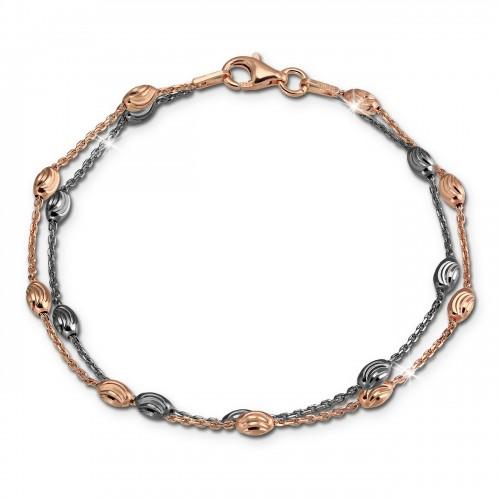 SilberDream Bicolor Armband Rose und Schwarz 19-21cm 925 Silber Damen SDA2459F