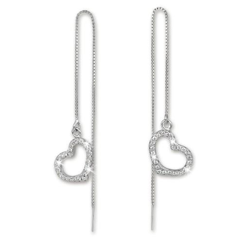 SilberDream Glitzer Ohrhänger Herz offen weiß 925er Ohrring Silber GSO432W
