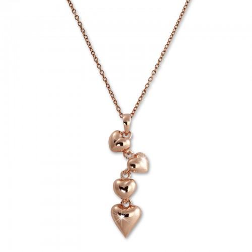 SilberDream Halskette mit Anhnger Herzen rose 44cm - 47cm 925 Silber SDK50644E