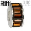 Carlo Biagi Zirkonia Bead Kristall Rad braun Europaen Beads BBSC01
