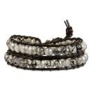 SilberDream Lederarmband Achat Maserung Damen Leder Armband LAN002