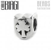 Carlo Biagi Bead Kleeblatt Silber European Beads BBS082
